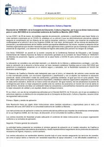 Instrucciones inicio curso 2021/2022